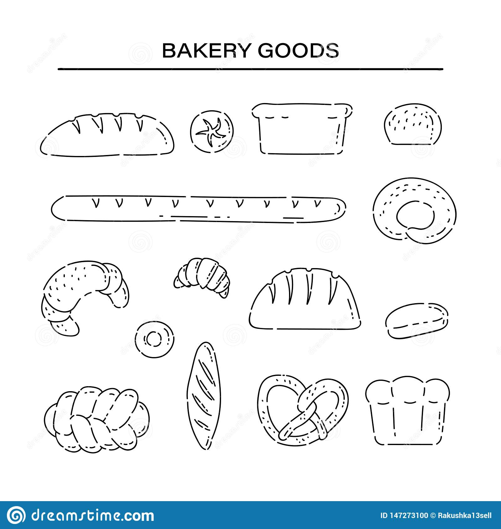 Set bakery products bread line doodle icons. Different baked goods vector sketch black isolated illustration on white