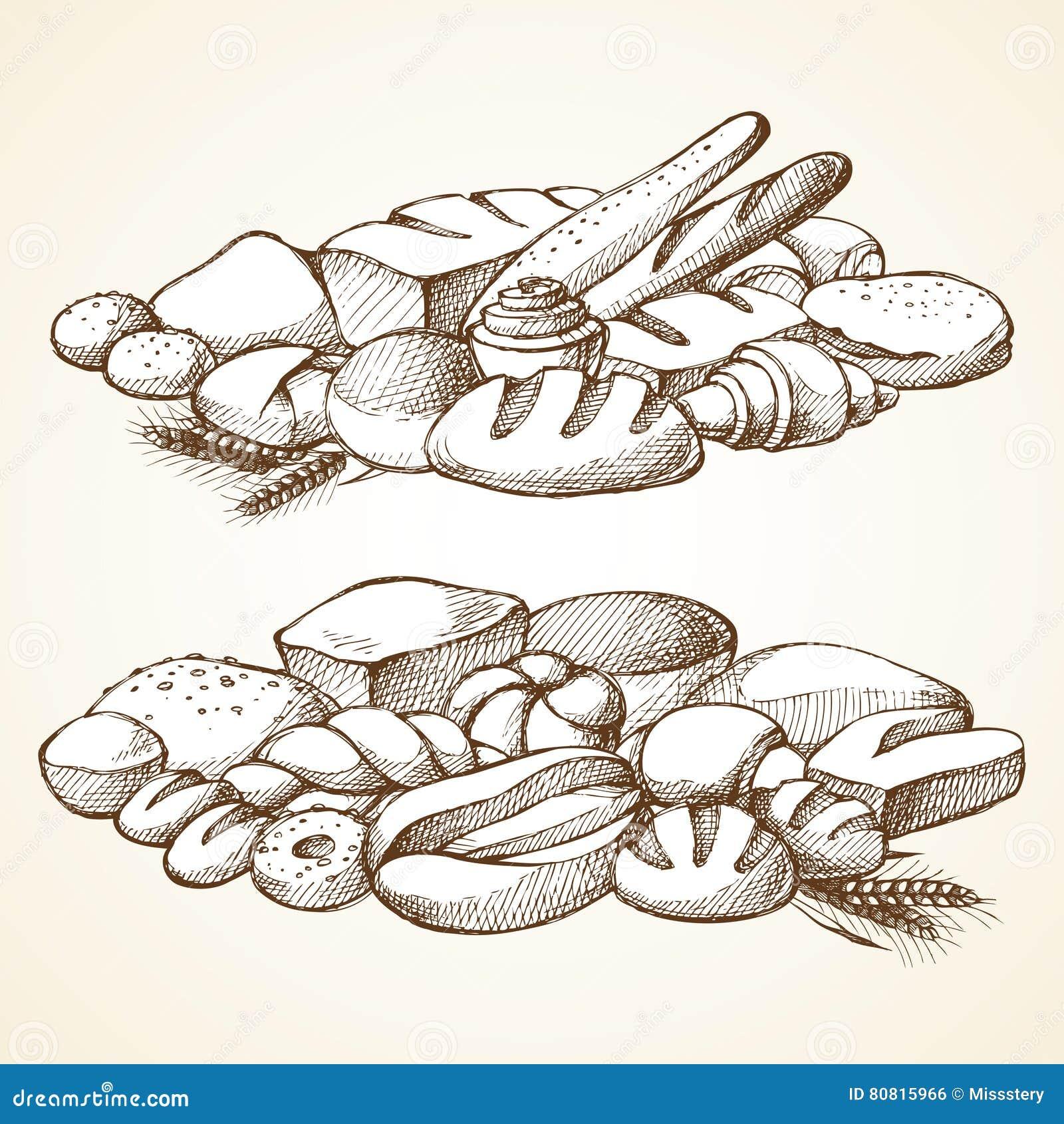Set bakery sketch vector illustration