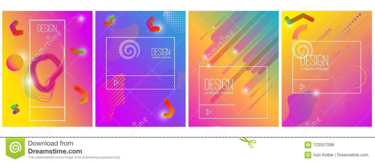 Set of banner design templates with abstract vibrant gradient shapes. Design element for poster, card, flyer,presentation, brochu