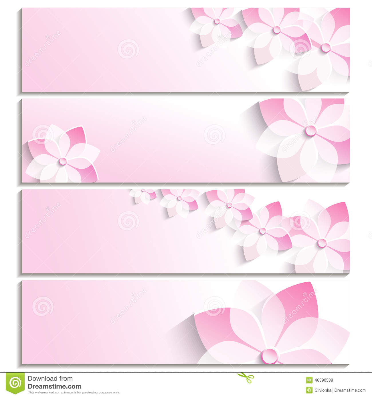 Set Of Banners With Blossoming Sakura Pink Stock Vector ...