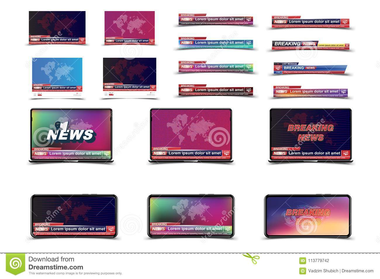 Set Banners Breaking News Template In Realistic Smartphone And Lap