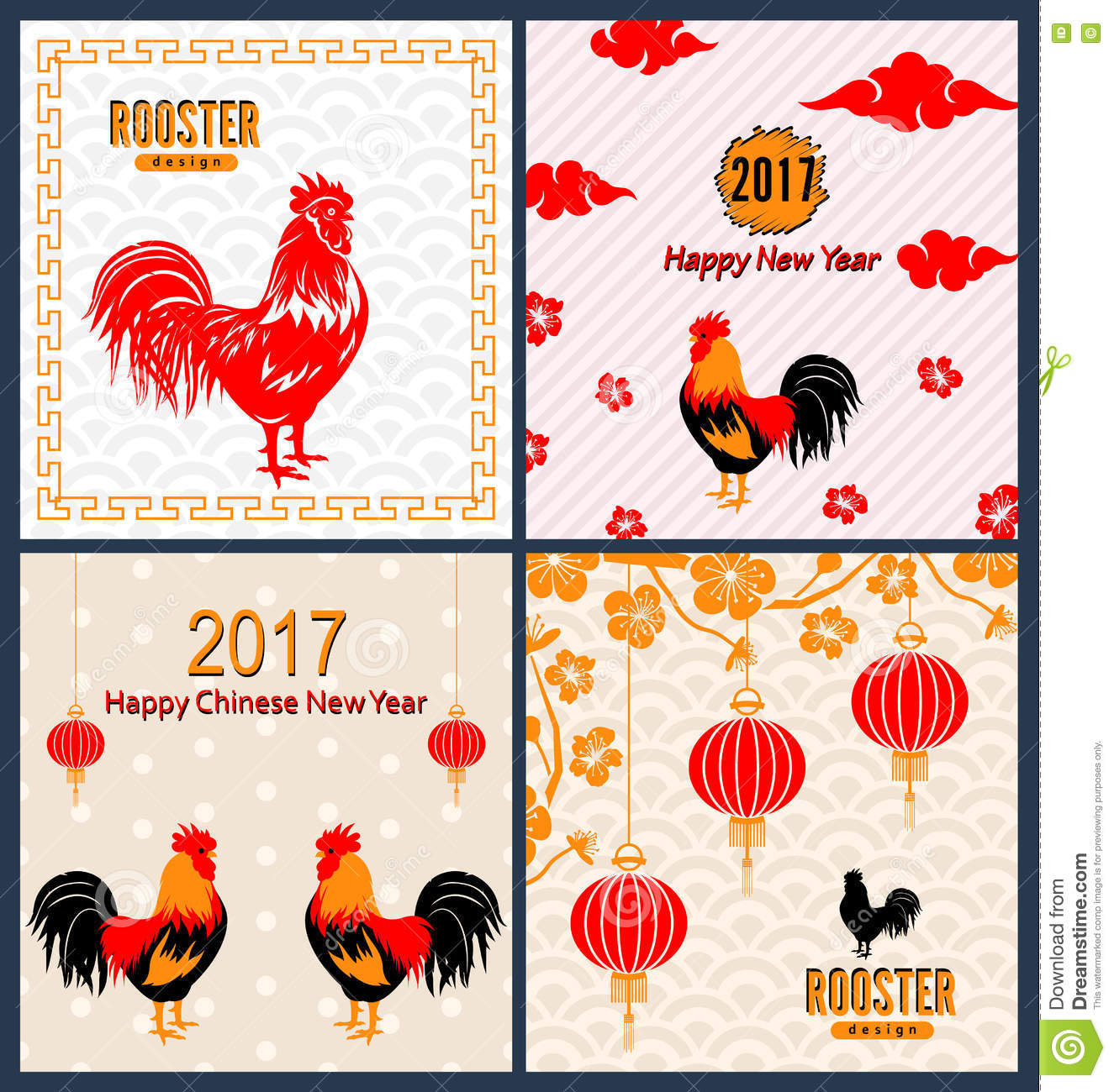 Set Banners With Chinese New Year Roosters Blossom Sakura Flowers