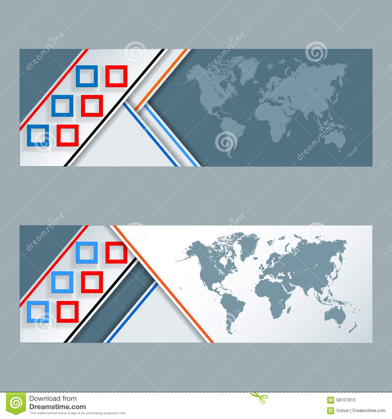 Set of banners with colorful squares mosaic and world map stock set of banners with colorful squares mosaic and world map royalty free vector gumiabroncs Image collections