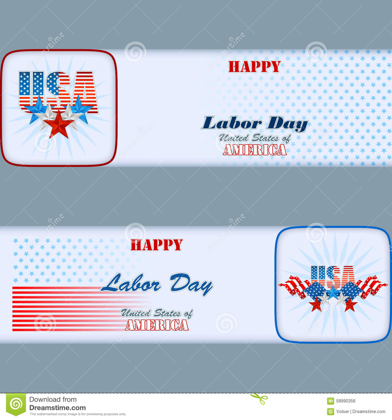 set of banners design with stars and flags for american labor day