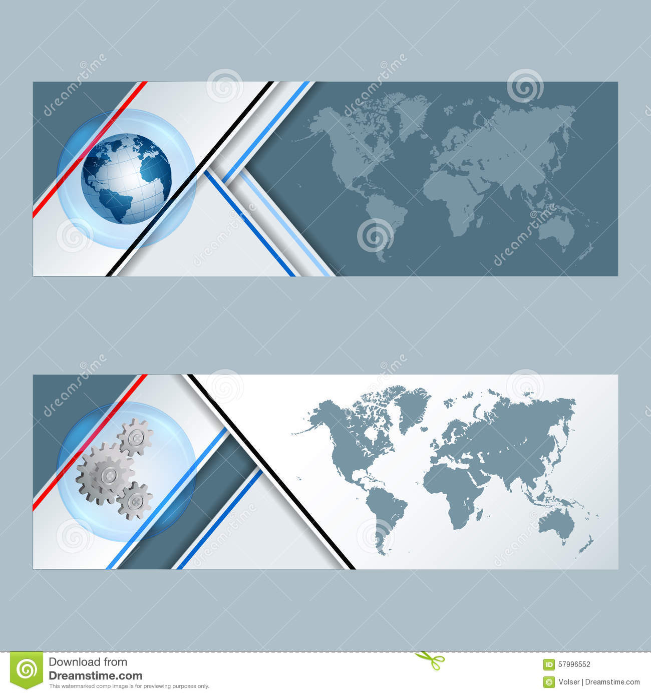 Map Design Website Template: Set Of Banners With Earth Globe, Cogwheels And World Map