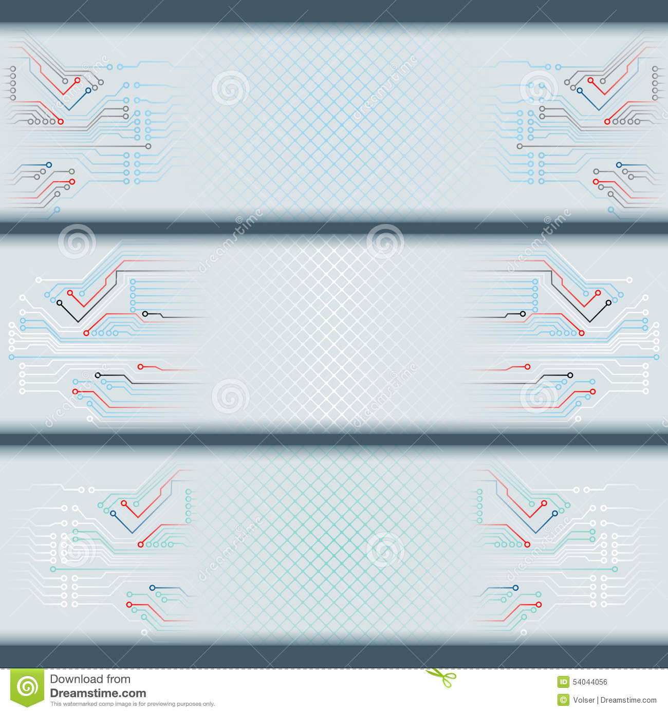 Set of banners with electronic circuits and space for text - Text banner design ...