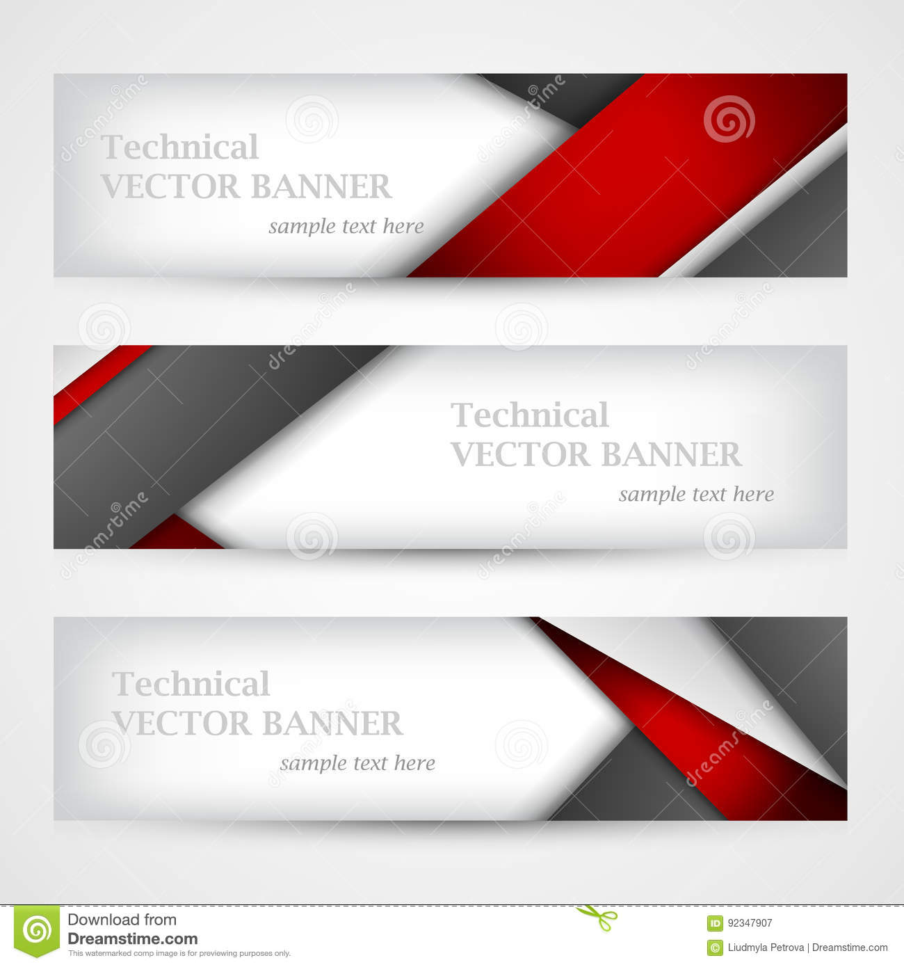 Set Of Banners With Lines Paper. Business Design Template. Stock ...