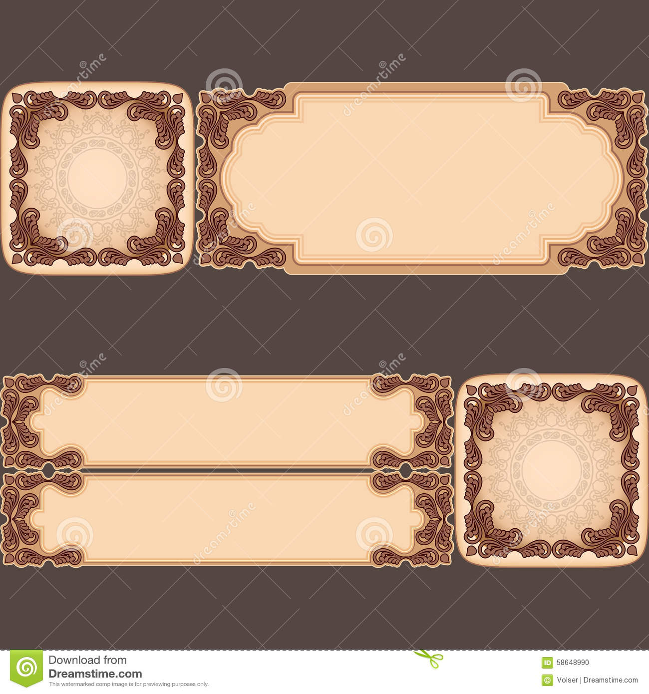 Set Of Banners With Vintage, Ornamental, Arabesques Design Stock ...