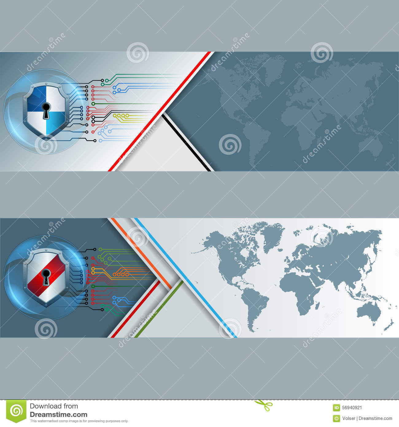 set of banners with world map shield equipped with key hole and