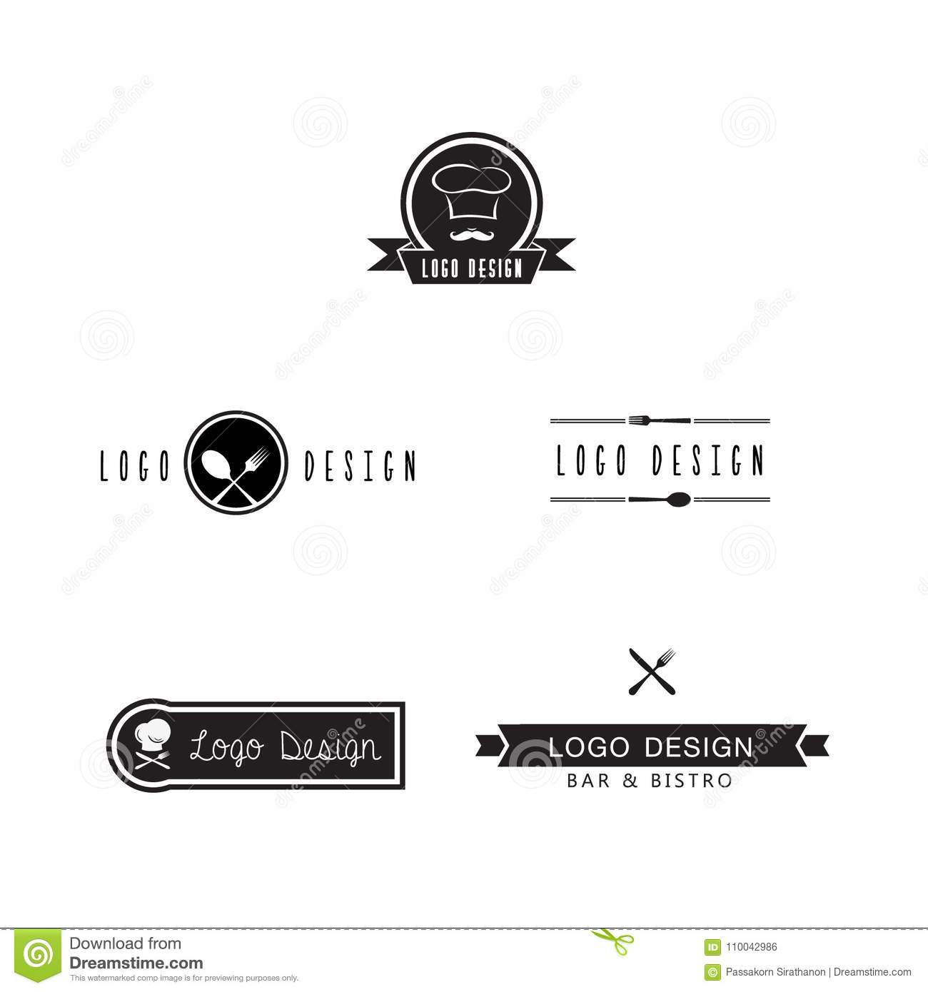 Set Of Bar And Bistro Logo Icon Design For Inspiration Artwork And