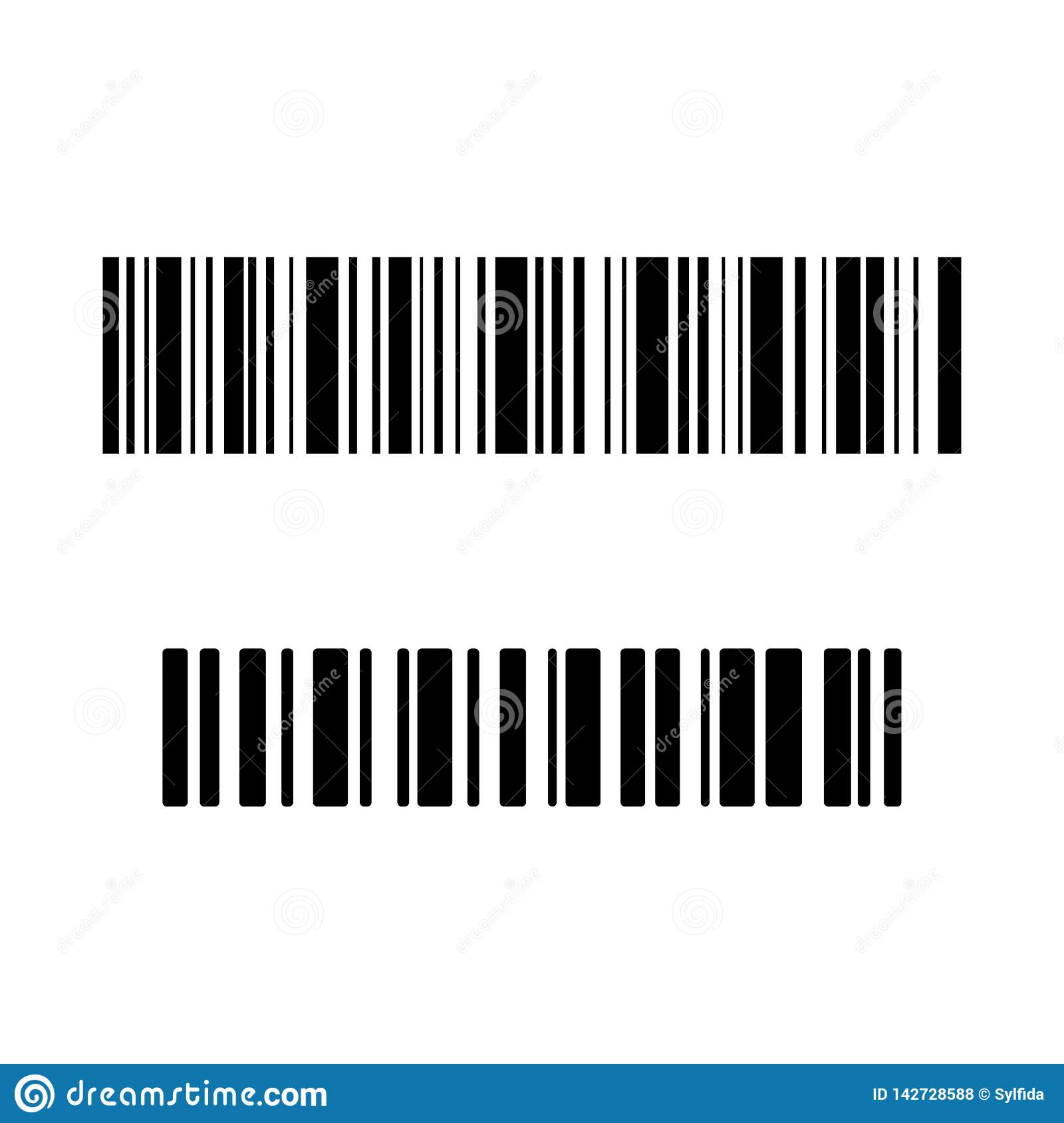 Set of bar code icons. Vector illustration. Set of black bar code icons. Vector illustration royalty free stock photos