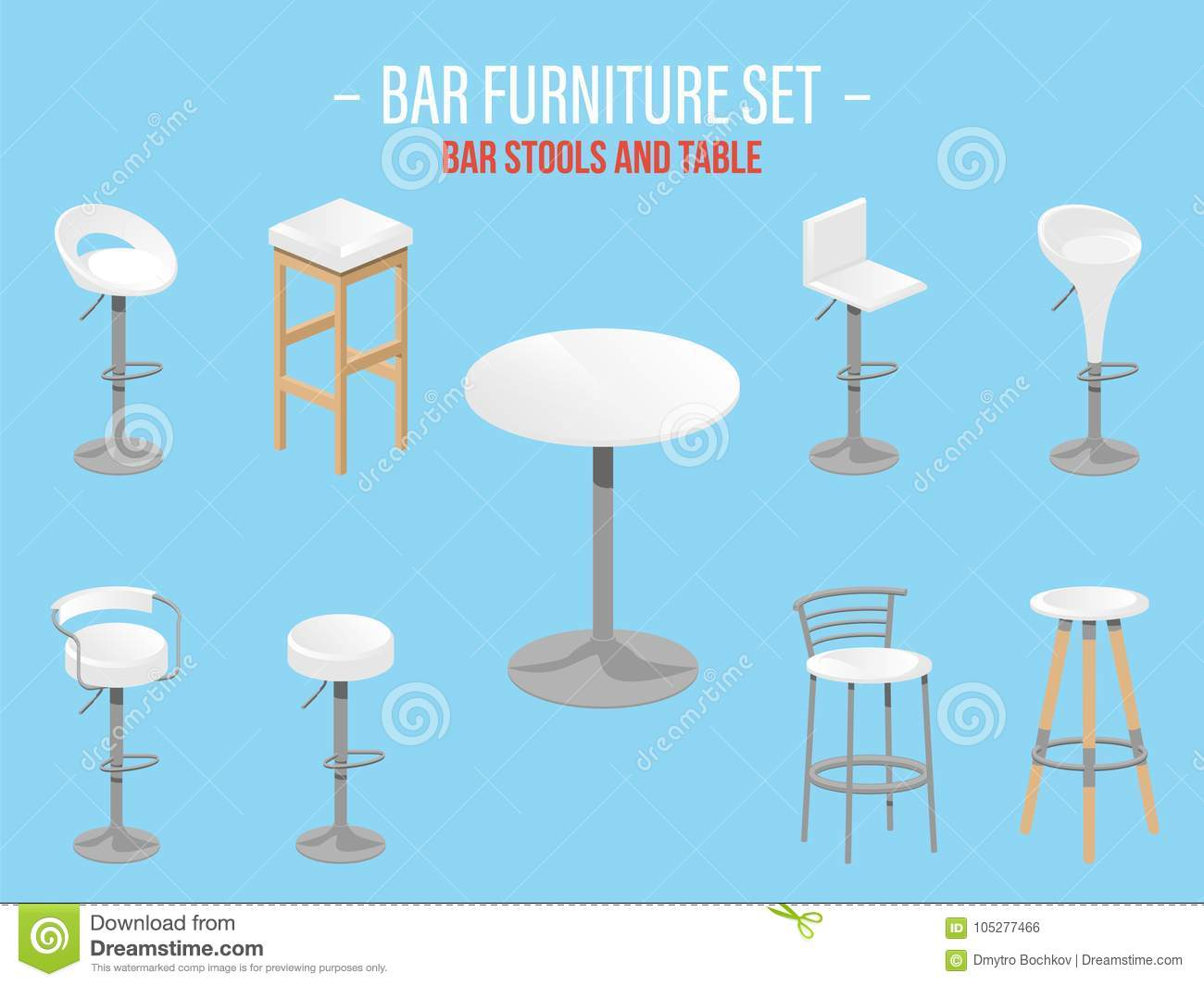 Set of bar stools and table stock illustration
