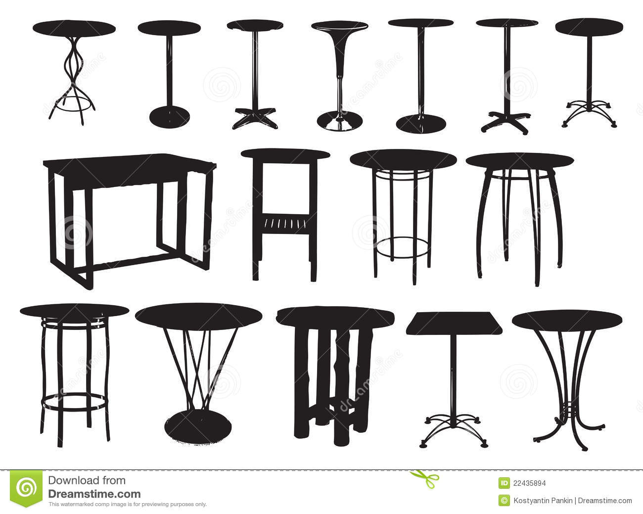 A set of bar tables stock vector image of design figure for Table design vector