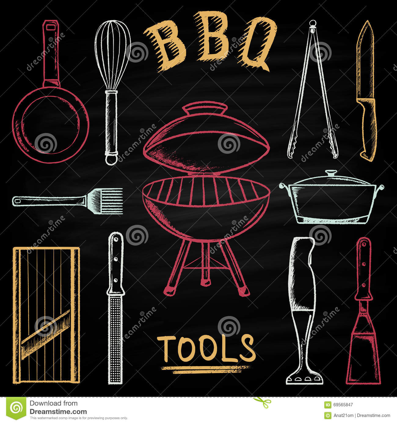 Set Of Barbecue Tools Drawn In Colored Chalk On A Blackboard