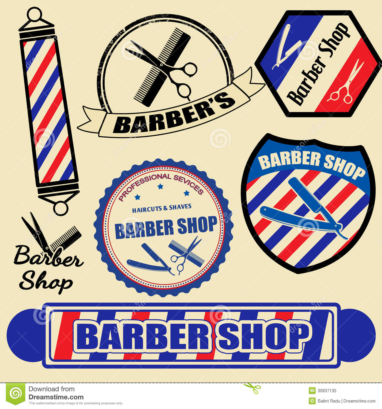Vintage Barber Clipart Set Of Barber S...