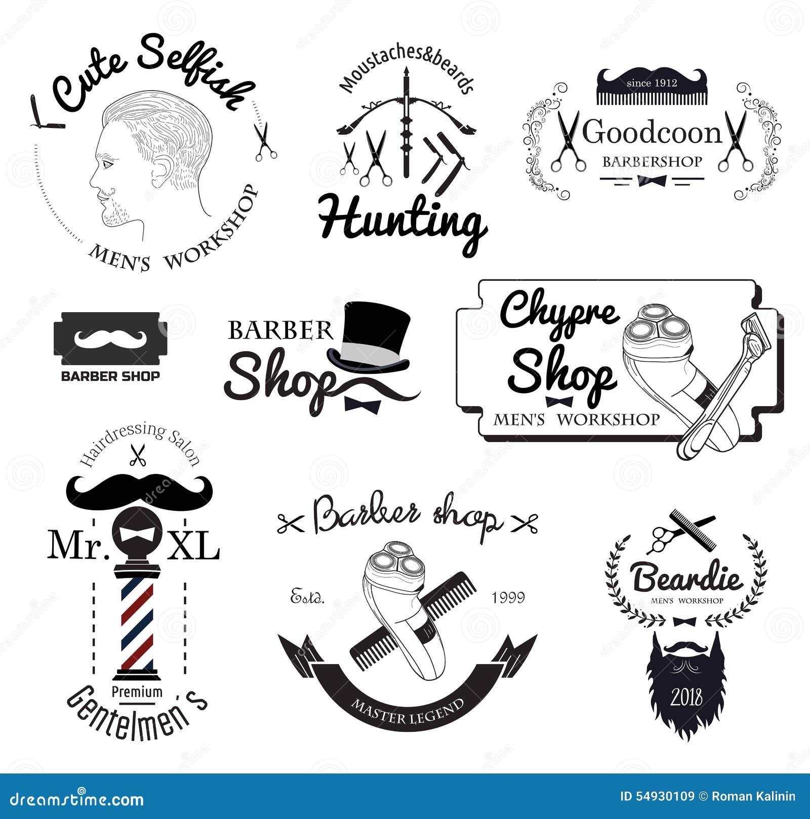 Set Barber Shop Logo Labels Badges And Design Element