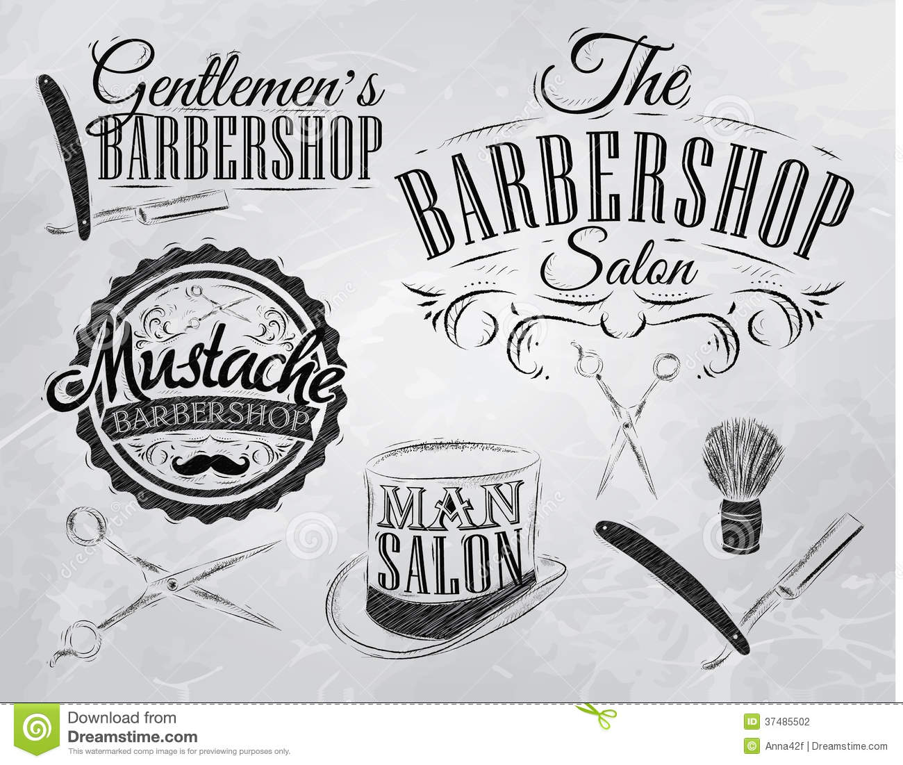 Set Barbershop Signs Coal Stock Vector Image 37485502