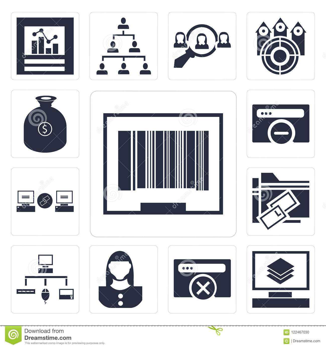 Set Of Barcode, Layers, Browser, User, Sitemap, Link, Money