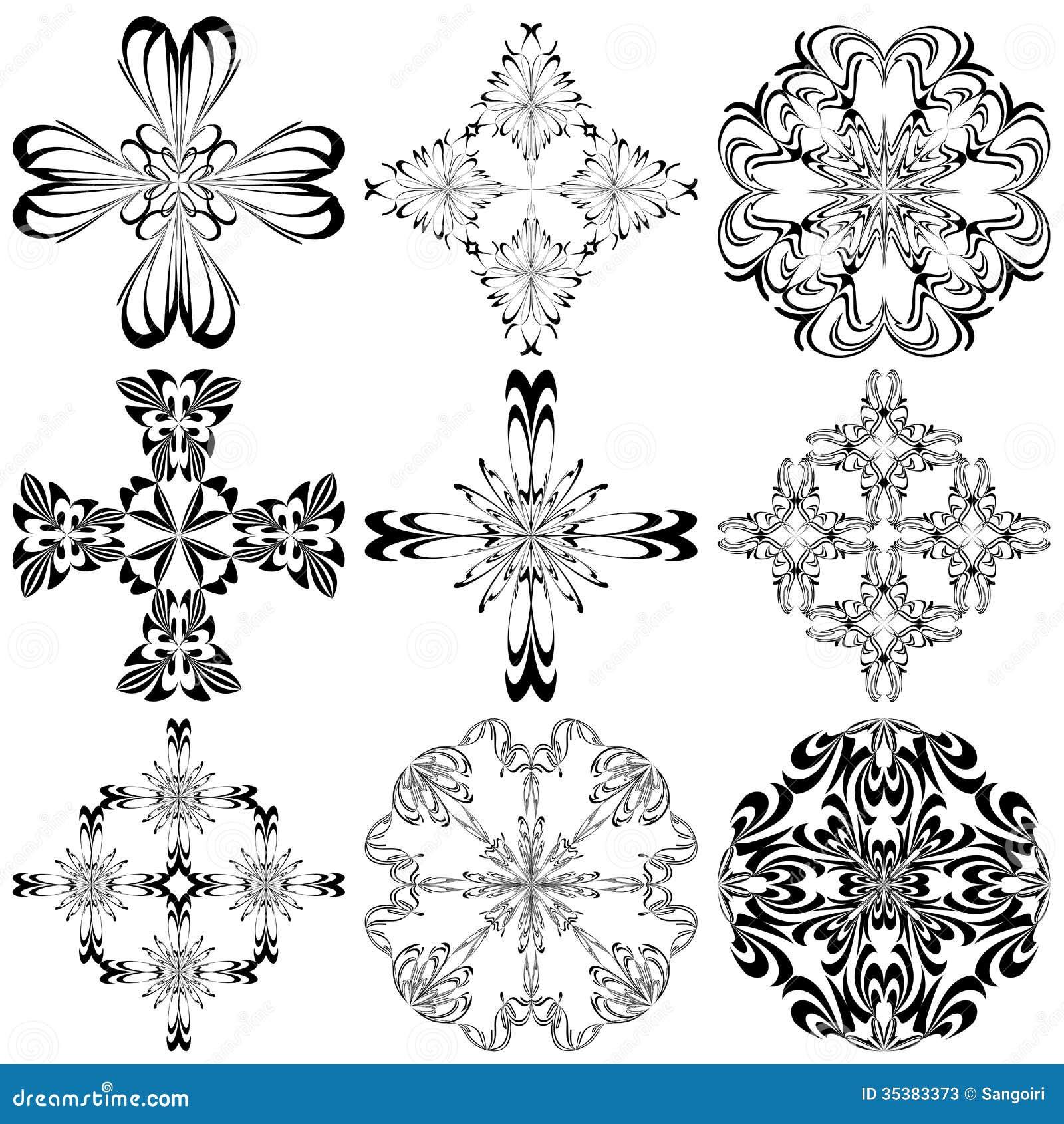 set of baroque crosses stock photos image 35383373. Black Bedroom Furniture Sets. Home Design Ideas