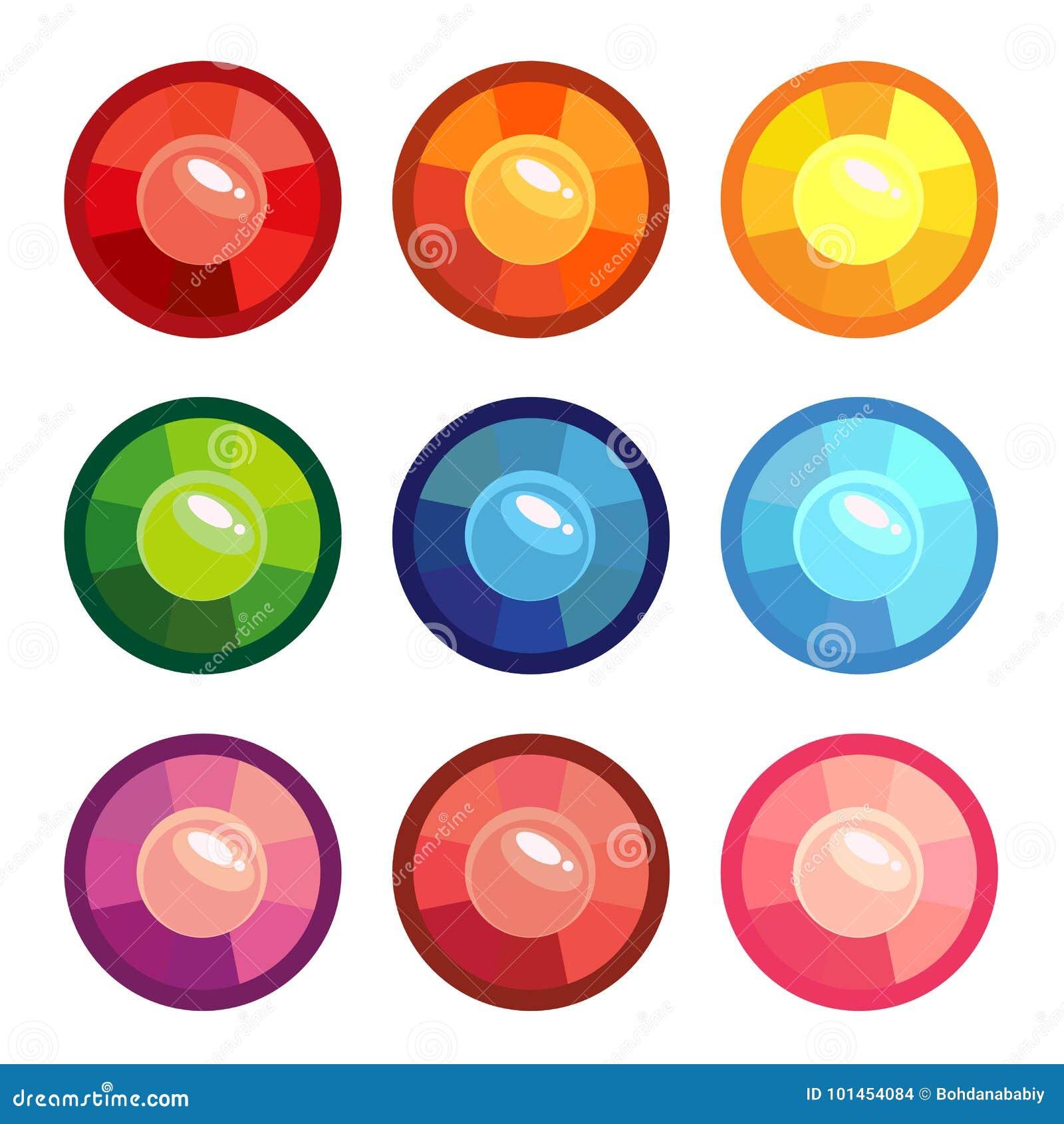 Set barwioni round klejnoty