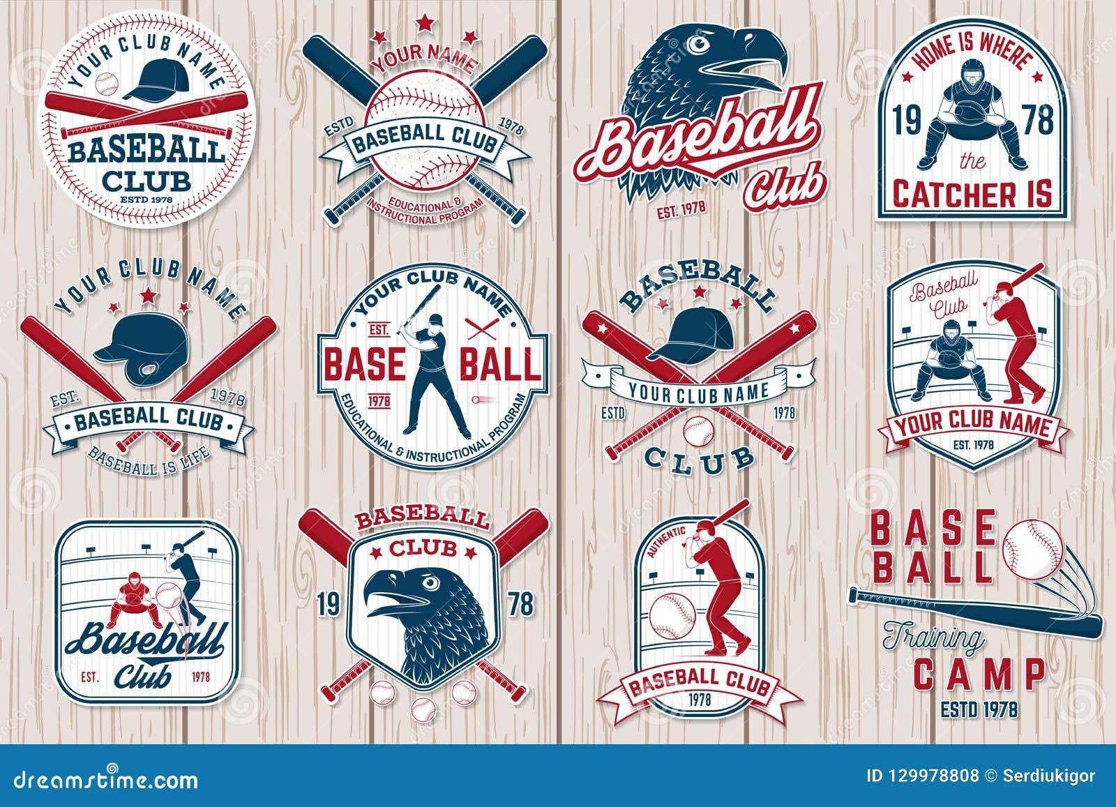 Set baseballa lub softballa świetlicowa odznaka również zwrócić corel ilustracji wektora Pojęcie dla koszula lub loga,