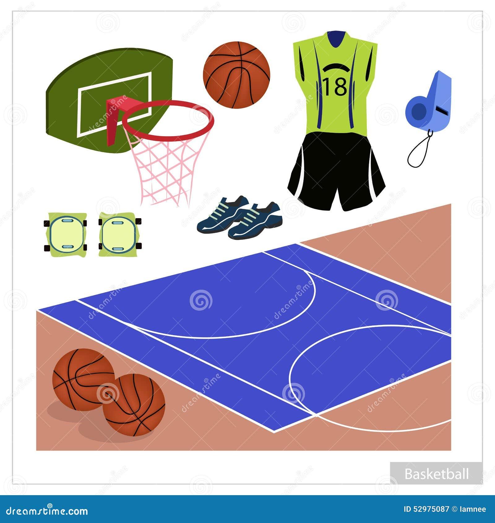 687d65646b5d Set Of Basketball Equipment On White Background Stock Vector ...