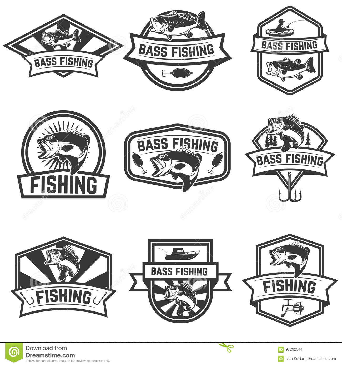 Set Of Bass Fishing Emblem Templates On White Backgroun Stock Vector ...