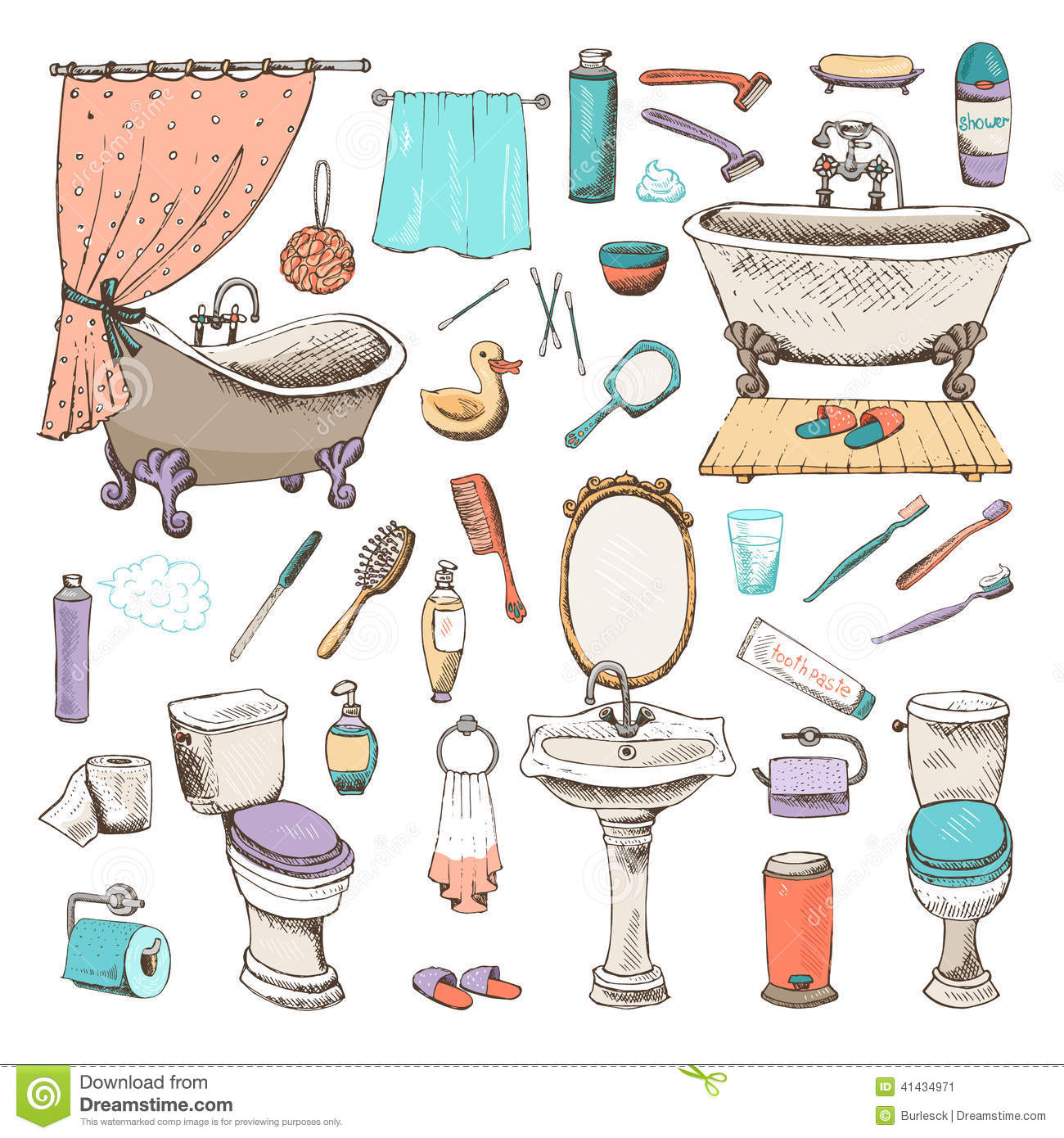 Set of bathroom and personal hygiene icons stock vector for Items for bathroom