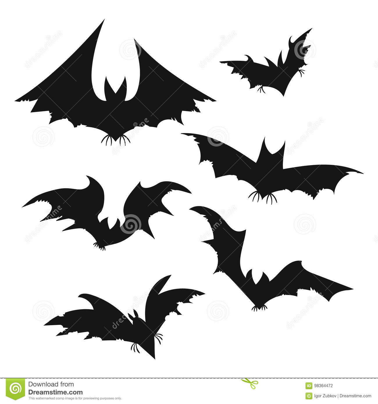 set of bats for halloween collection of black bats silhouettes of rh dreamstime com All Halloween Pictures Clip Art All Halloween Pictures Clip Art