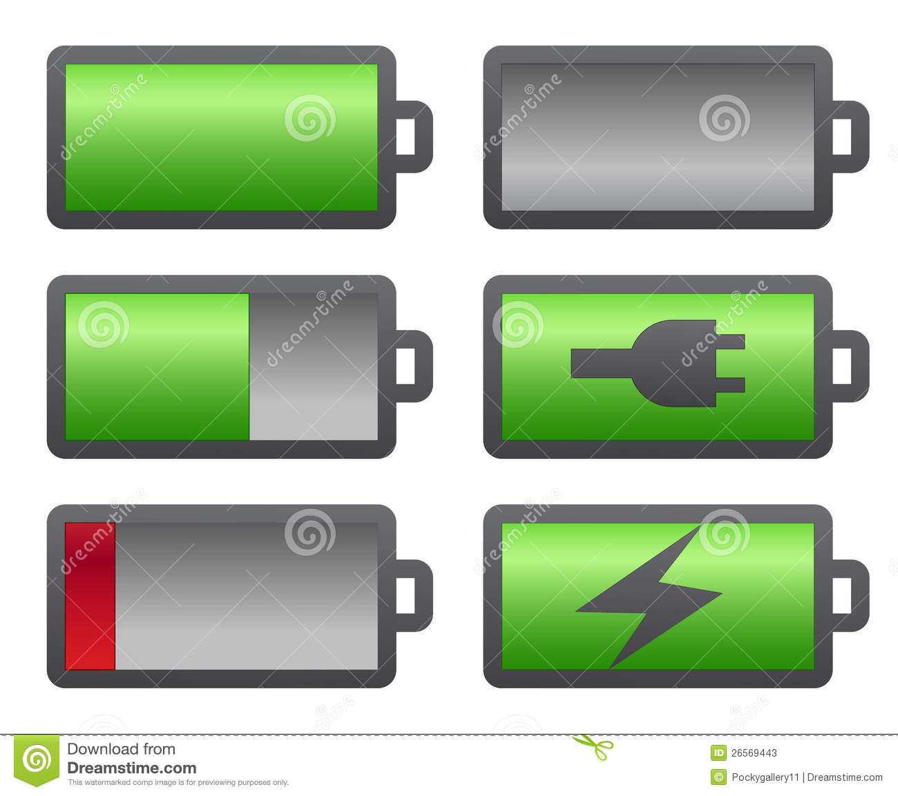 set of battery charge level indicators stock photos image 26569443. Black Bedroom Furniture Sets. Home Design Ideas