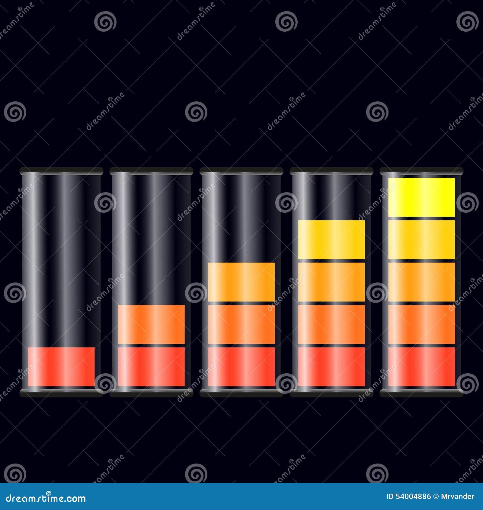 Windows 8 1 Set Battery Charge Level : Set of battery charge level indicators stock vector