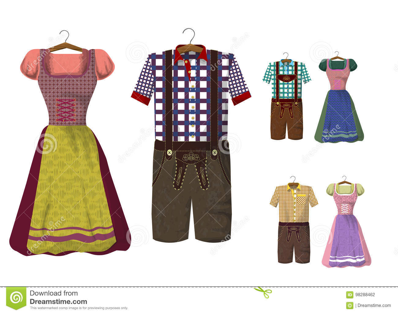 Set of Bavarian clothing Dirdle and Lederhosen