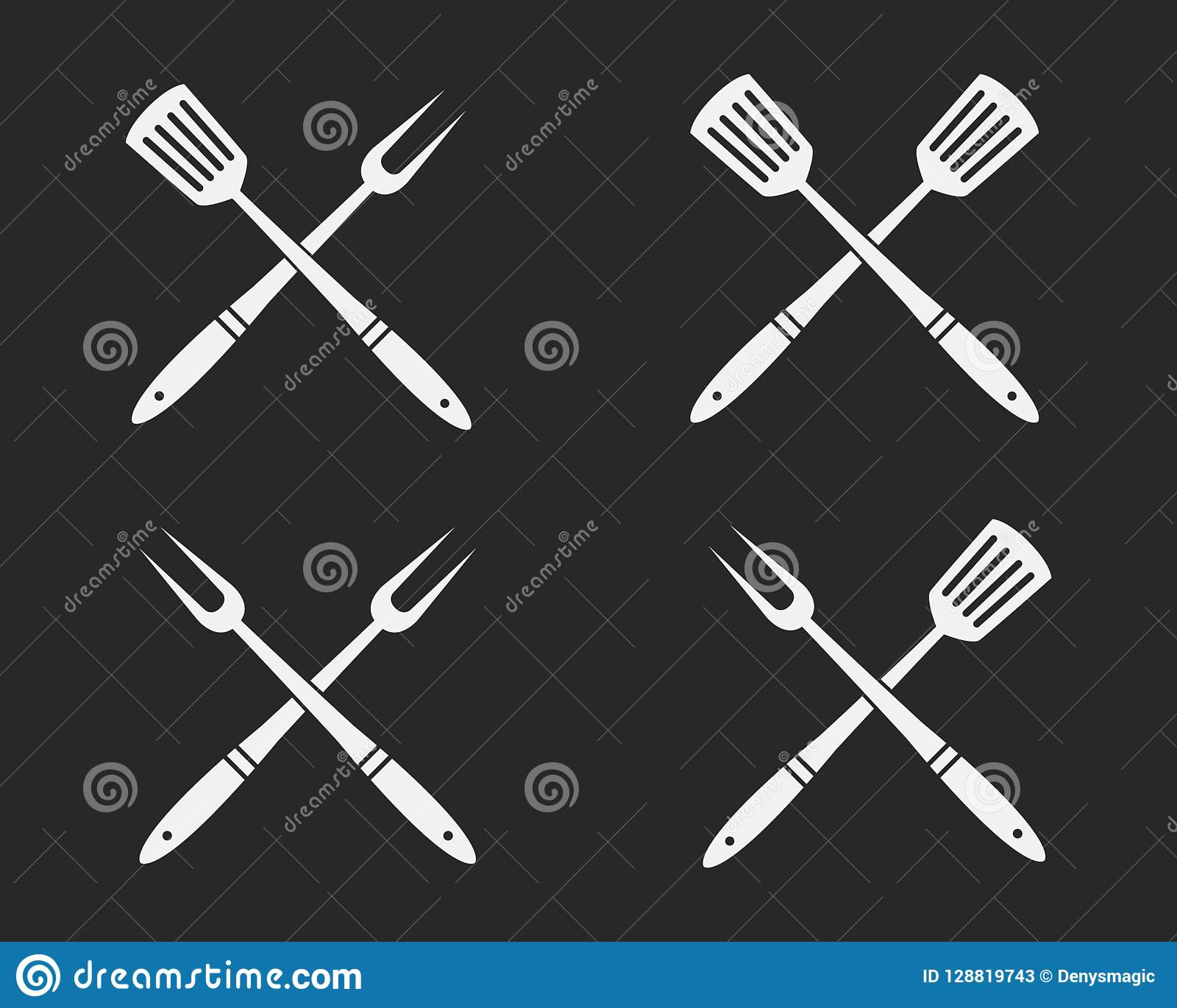 Set of BBQ tools icons. Crossed Barbeque fork and spatula. Elements for design logos, emblems, badges. Vector illustration