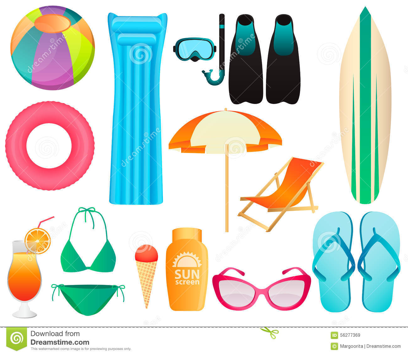 Set Of Beach Accessories Stock Vector