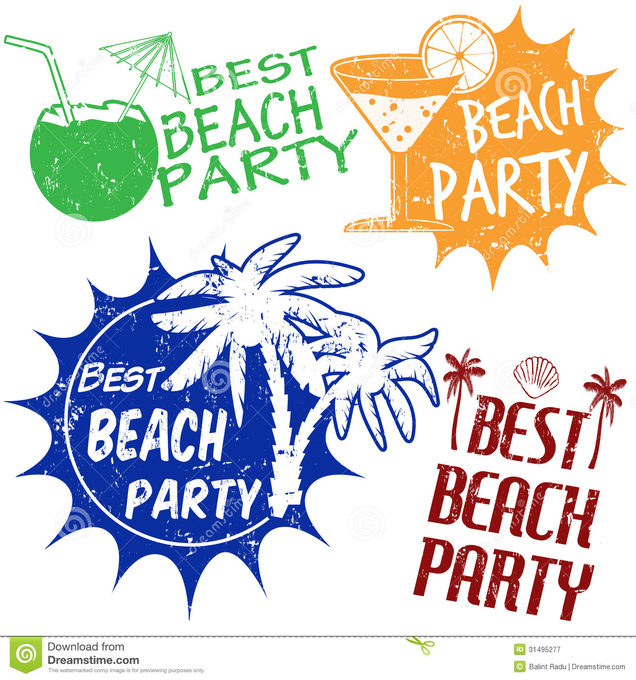 Set Of Beach Party Stamps Stock Vector Illustration Of