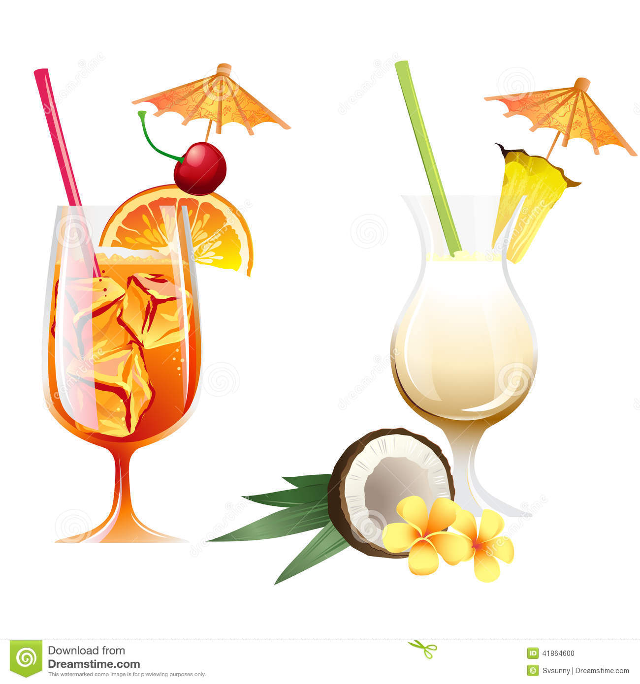 Set Of Beach Tropical Cocktails Bahama Mama And Pona Colada With Stock