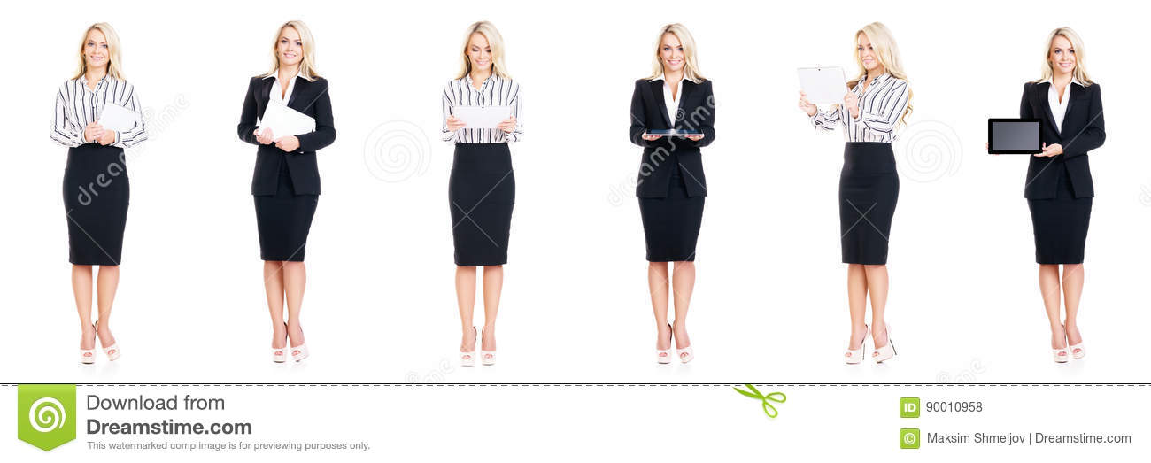 Download Set Of Beautiful, Attractive Businesswoman Isolated On White. Business, Career Success Concept. Stock Photo - Image of occupation, person: 90010958