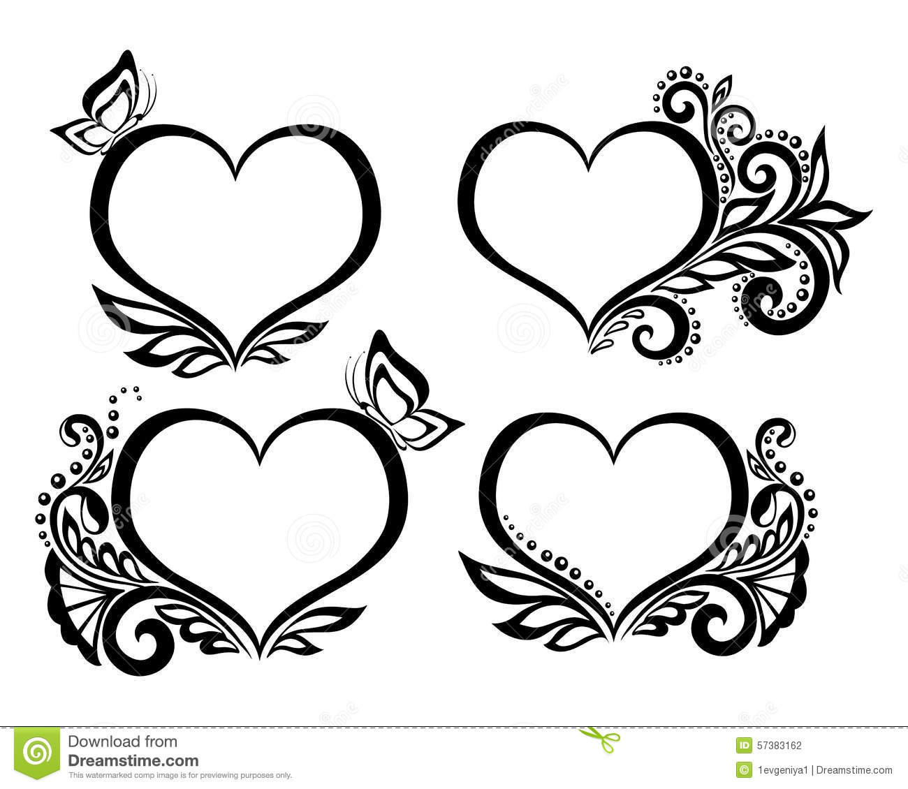 Set Of Beautiful Black And White Symbol Of A Heart With Floral