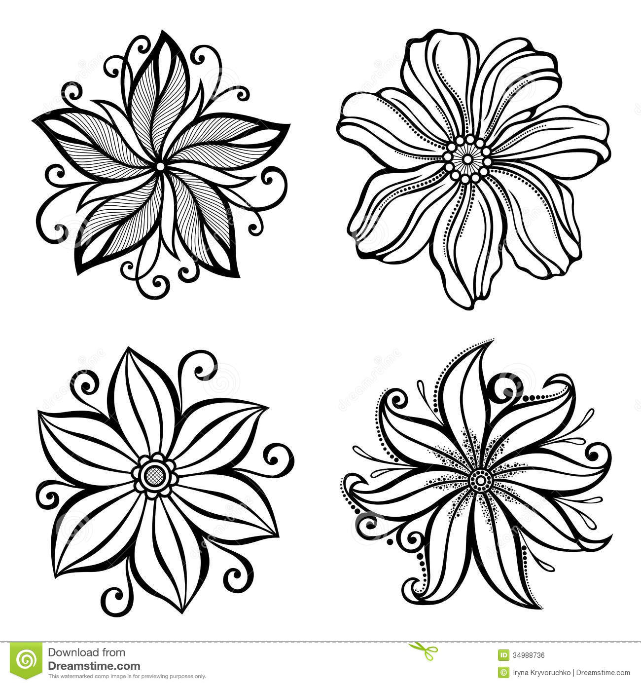 Set Of Beautiful Deco Flowers Stock Vector - Illustration ...