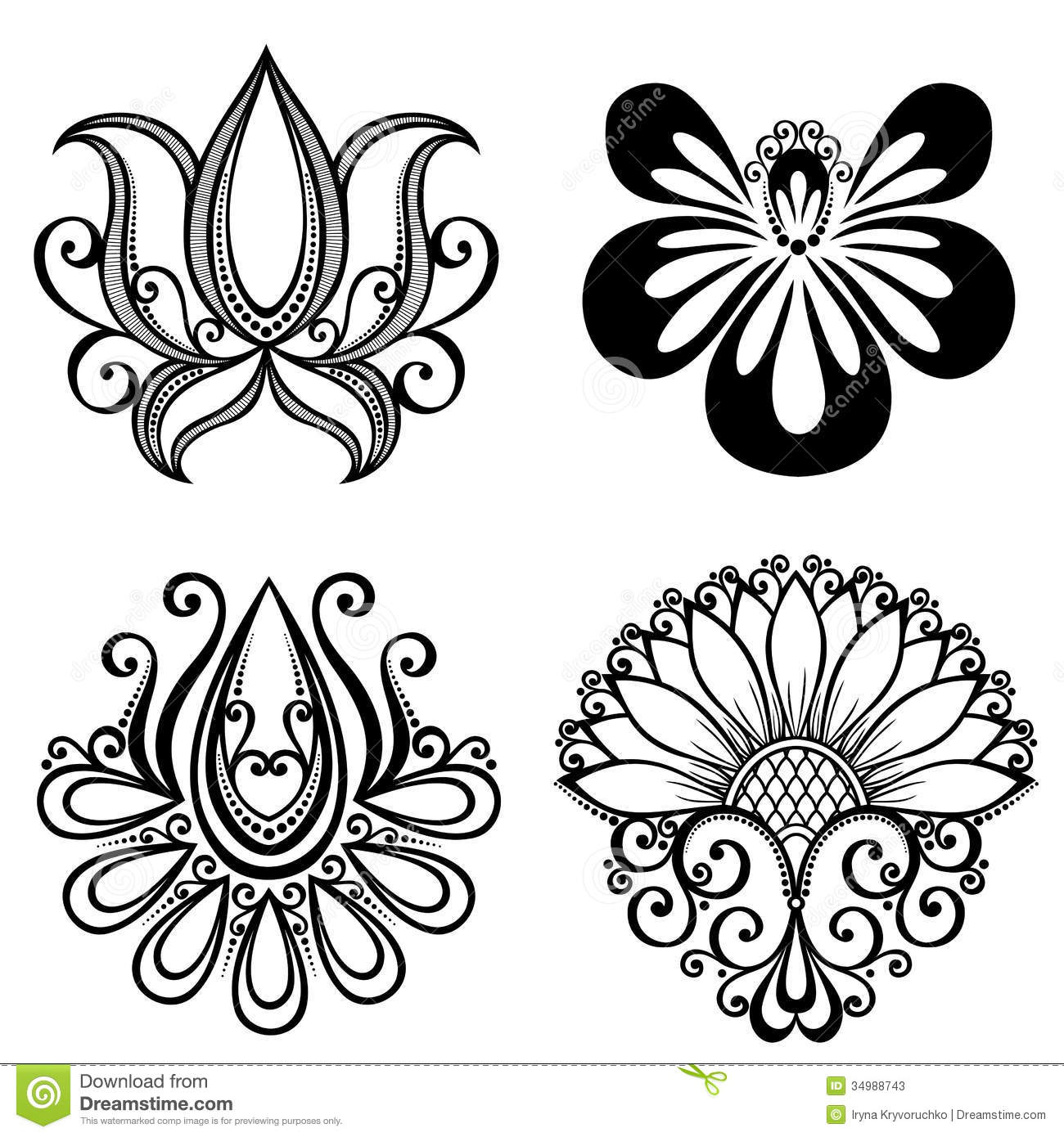 set of beautiful deco flowers stock vector image 34988743. Black Bedroom Furniture Sets. Home Design Ideas