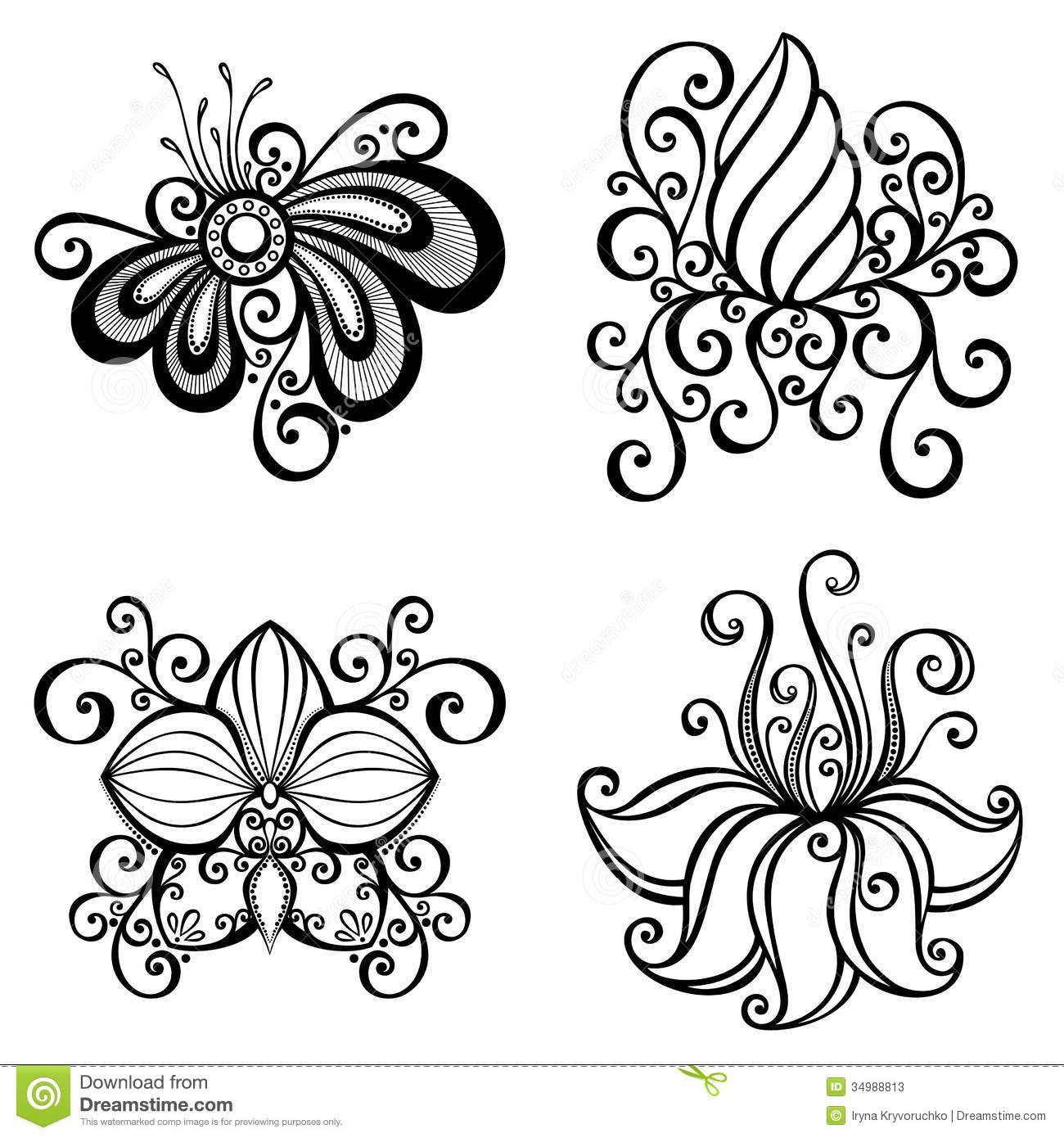 set of beautiful deco flowers stock vector image 34988813. Black Bedroom Furniture Sets. Home Design Ideas