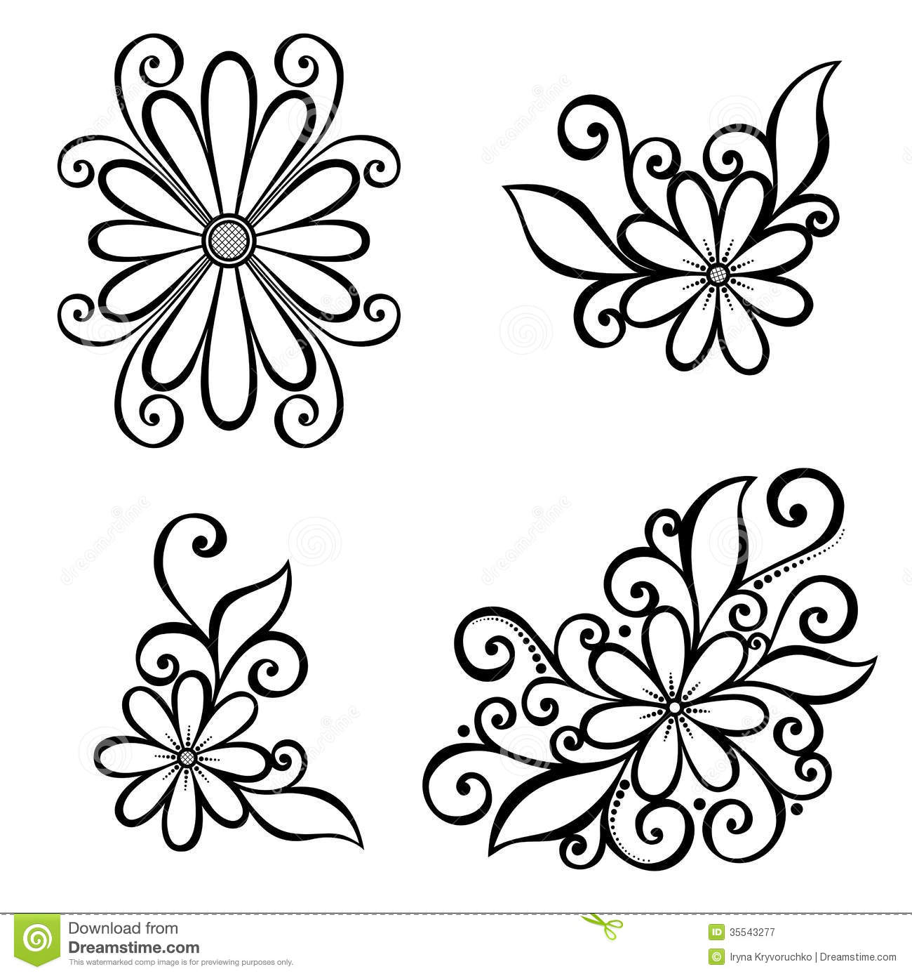 Art Deco Flower Vector Set Of Beautiful Deco Flowers
