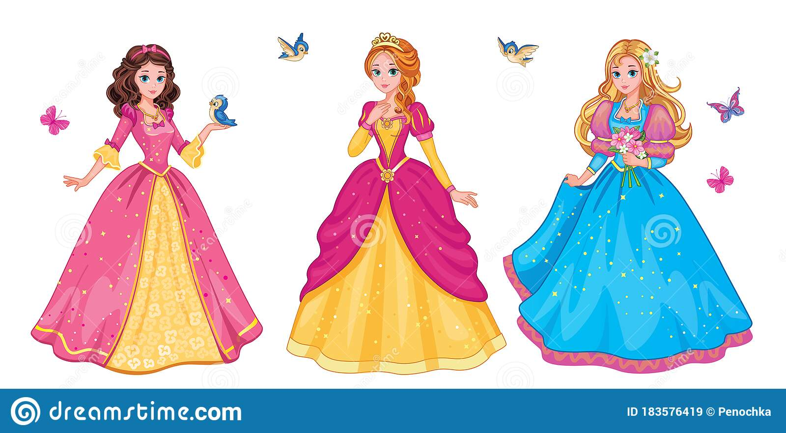 Set Beautiful Fairytale Elf Princess On White Background Children S Illustration For Print Or Sticker Isolated Illustration Stock Vector Illustration Of Children Beautiful 183576419