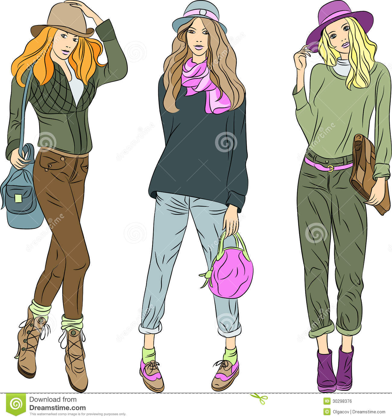 Vector Beautiful Fashion Girls Top Models In Hats Royalty ...