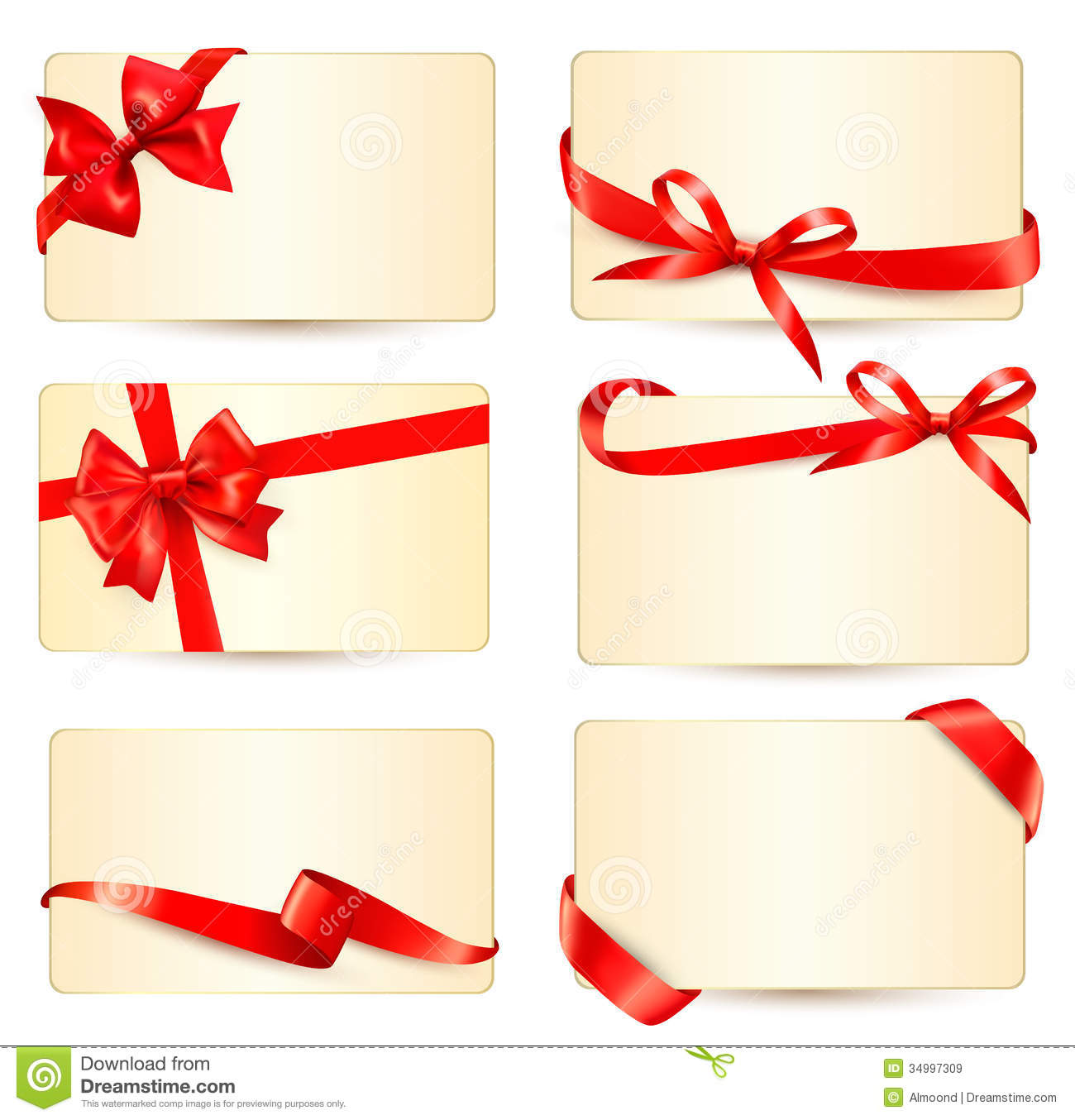 Set of beautiful gift cards with red gift bows wit stock vector royalty free stock photo yadclub