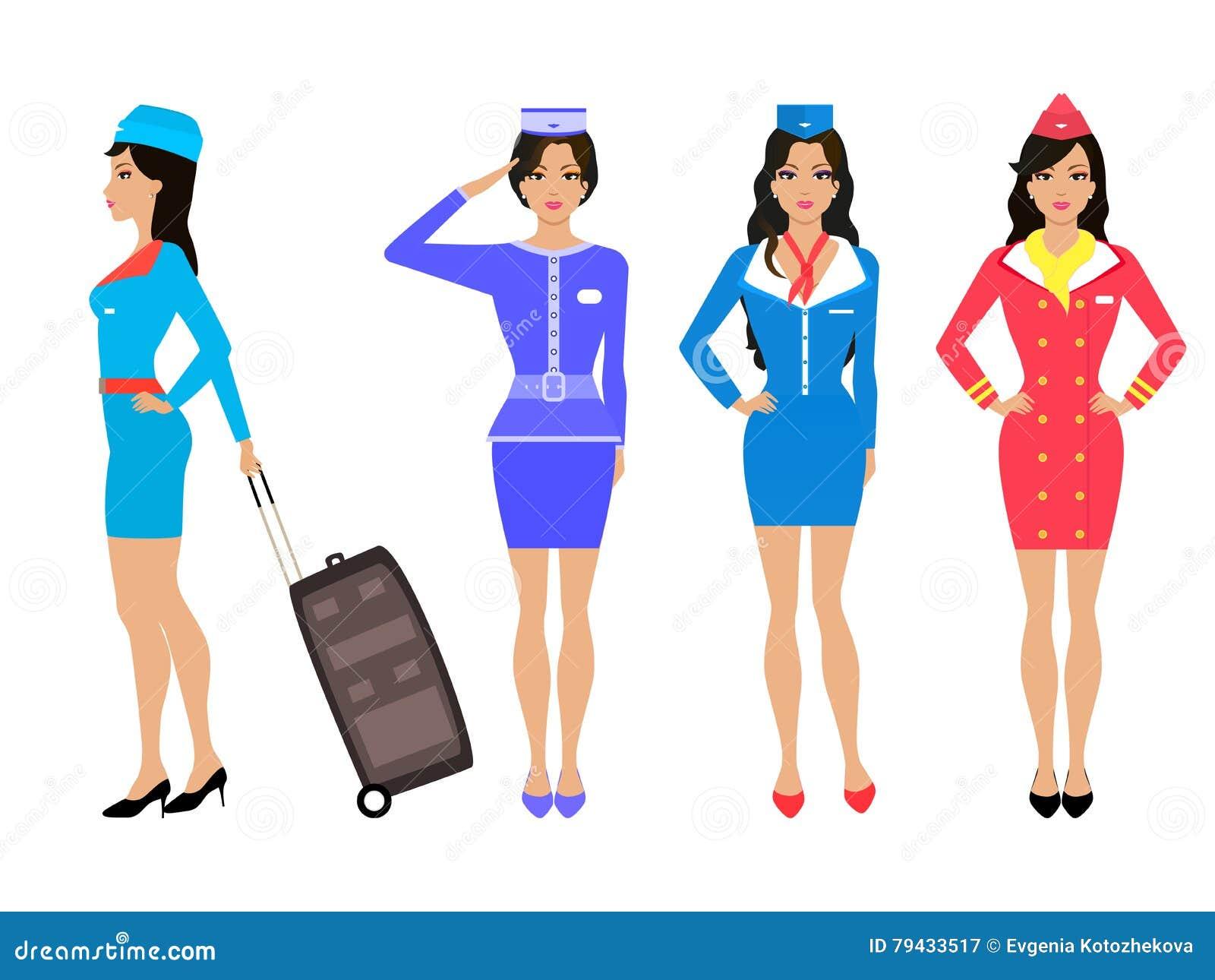 fda65df142ac3 Royalty-Free Vector. Set beautiful stewardess. Air hostess in uniform