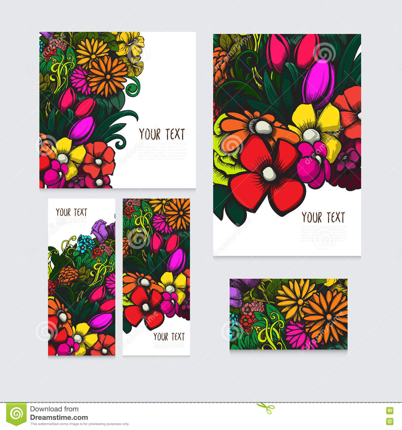 Set Of Beautiful Vector Cards With Colorful Floral Background For