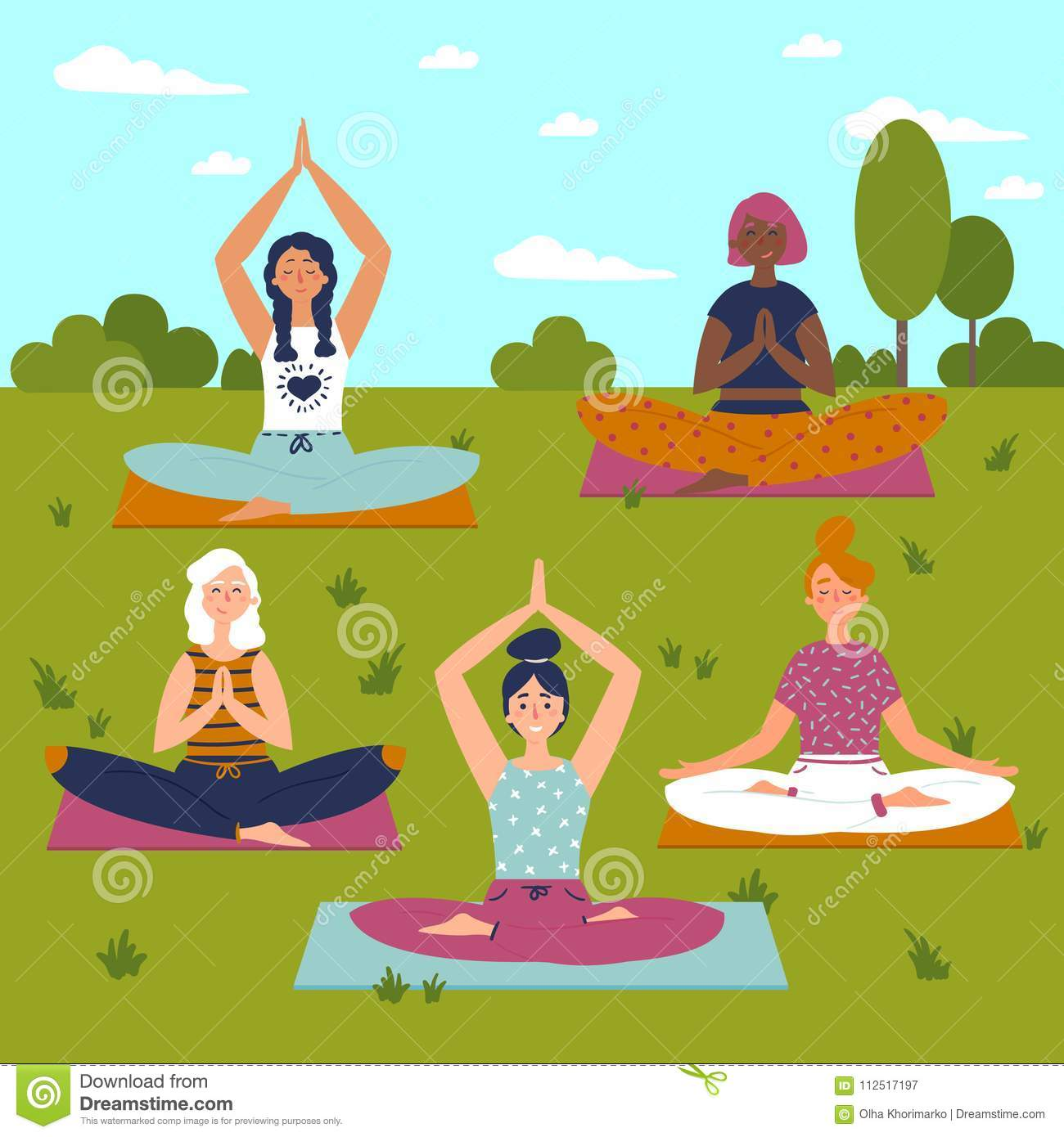 Set With Beautiful Women In Lotus Pose Of Yoga Stock Vector