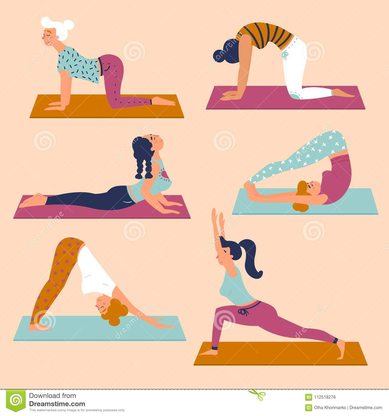 Set with beautiful women in various poses of yoga