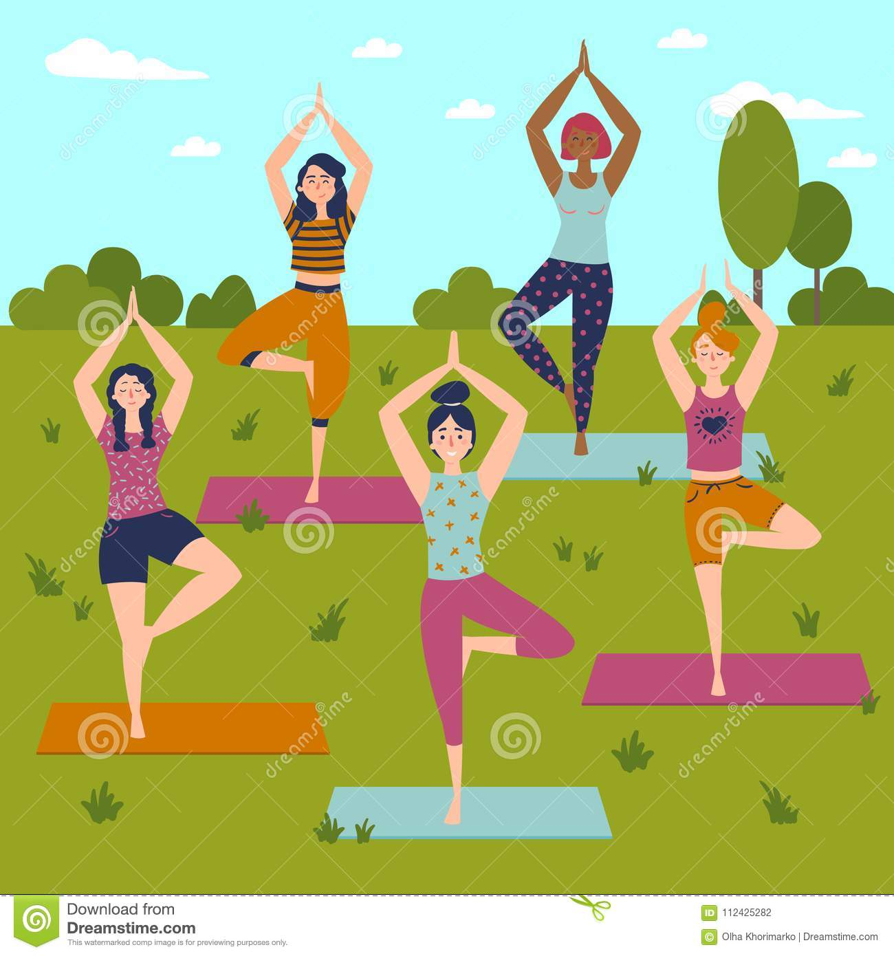 Set With Beautiful Women In Vrkasana Pose Of Yoga Stock Vector